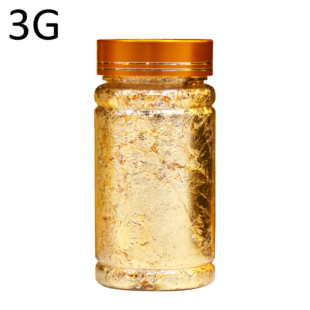 3g/Bottle Gold Leaf Flakes For Nail Decorations Gliding Arts Crafts Painting Gold Foil Fragments Craft Paper Pieces