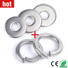 50pcs Spring Washer Flat Washer M2 M2.5 M3 M4 M5 M6 M8 M10 M12 M14 M16 M18 M20 M22 M27 Stainless Steel Washers Plain Gaskets 304 stainless steel flat gasket metal metric meson plain washer m1 6 m2 m2 5 m3 m4 m5 m6 m8 m10 m12 m14 m16 m18 m20 m22 m24