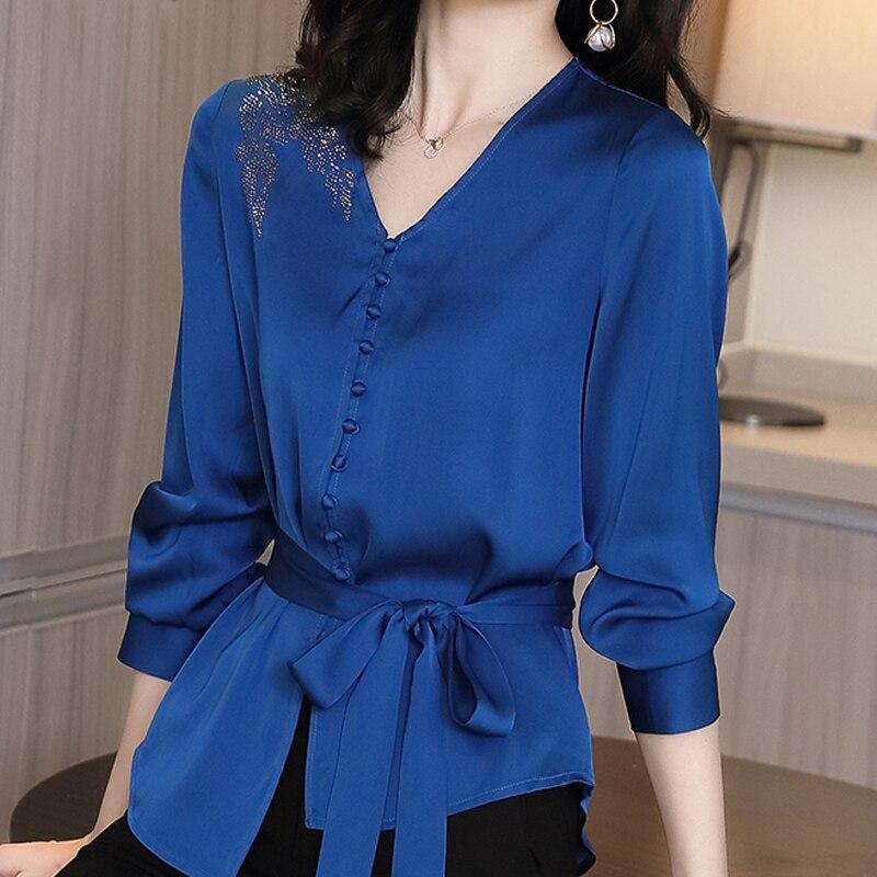 Autumn Long Sleeve Chiffon Blouse Shirt Blouse Women Blusas Mujer De Moda 2021 V-Neck Office Lady Blouse Tops Women Blusa D713 1