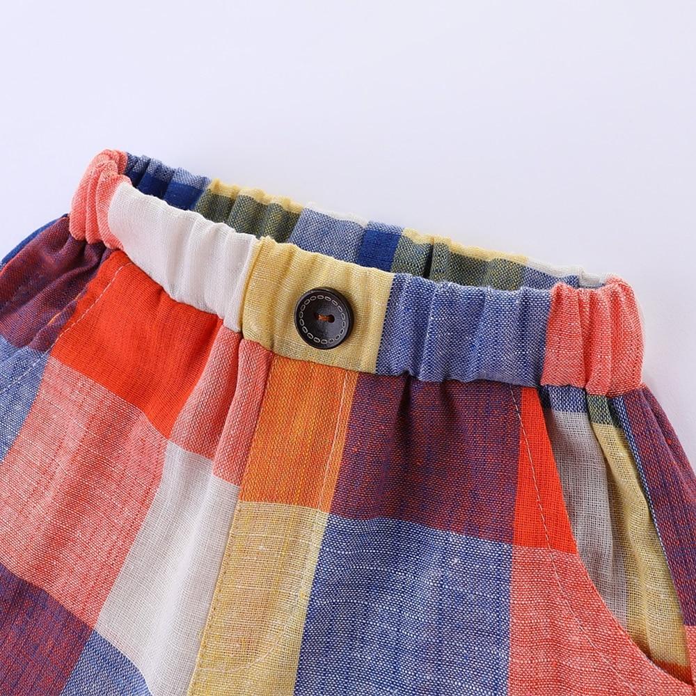Mudkingdom Boys Summer Shorts Rainbow Color Classic Plaid Elastic Waist Casual Cotton Shorts 6