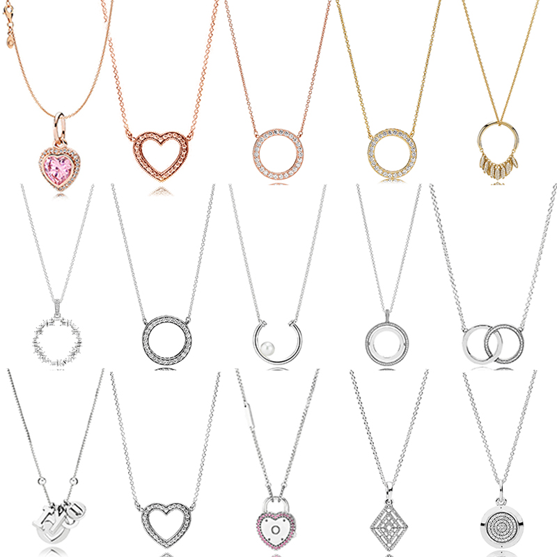 100% 925 Sterling Silver Pandoras Model Charm Necklace Female Heart Valentine's Day Heart-shaped Necklace Fashion Jewelry