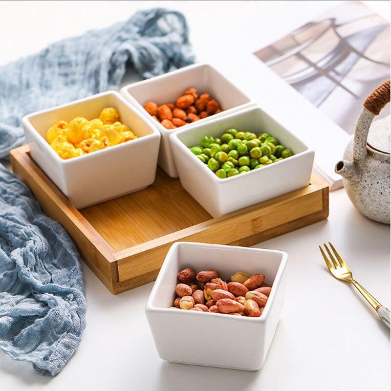 Многофункциональная керамическая коробка бамбуковые поддоны для хранения домашней кухни еда десерт чайная тарелка гайка закуска Конфета Органайзер украшение поднос для сервировки-4