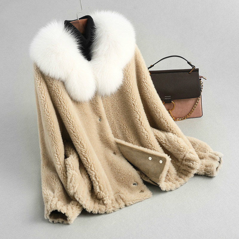 Fox Fur Collar 100% Wool Jacket Real Fur Coat Autumn Winter Coat Women Clothes 2020 Korean Vintage Sheep Shearling Tops ZT3552