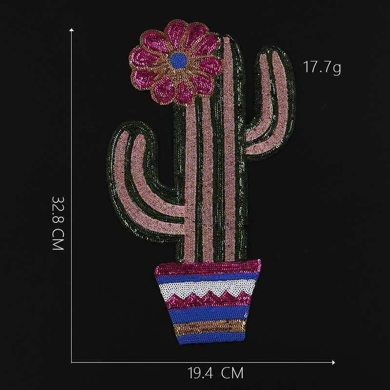 Large Size Sequin Cactus Tree Sewing on Patches Sewing Clothes Embroidered Appliques Cartoon stickers Stripes for Clothes