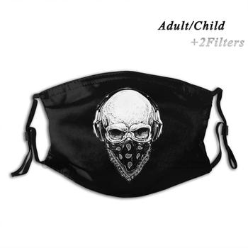 Skull Design Print Reusable Pm2.5 Filter Diy Mouth Mask Kids Skull Bandana Punk Metal Metalhead Headbanger Punx Hardcore image