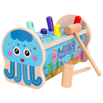 Free shipping Baby wooden toys Ocean Scene Whac-A-Mole Children's educational game, parent-child interactive toy, Knock toy gift plastic toy baby birthday gift desktop funny game tabletop shoot football fossball family parent child interactive educational