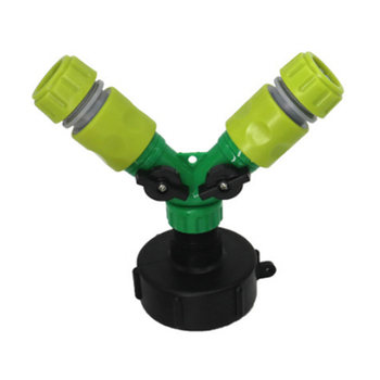 Y Shaped Quick Valved Connector IBC Tank Adapter Tap Connector Replacement Valve Fitting