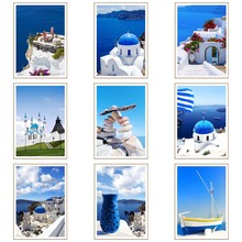 Mediterranean Sea Landscape DIY Diamond Painting Kits Seaside Building Picture Cityscape Home Wall Decor Gift