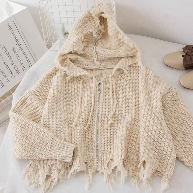 Winter Knitted-Tops Street-Wear Women's Sweater Spring-Fall Beige Zipper Black Female title=