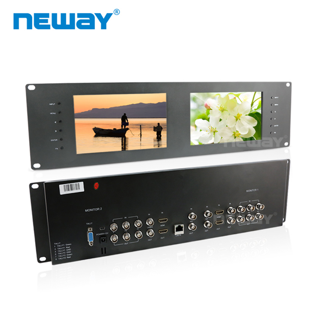 Neway RM70S 3G-SDI 7 Inch Dual Rack Mount Colour Broadcast Monitors 7