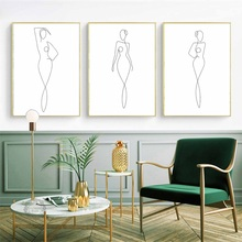 Abstract Line Girl Body Minimalist Modern Nordic Posters And Prints Wall Art Canvas Painting Pictures for Living Room Decor