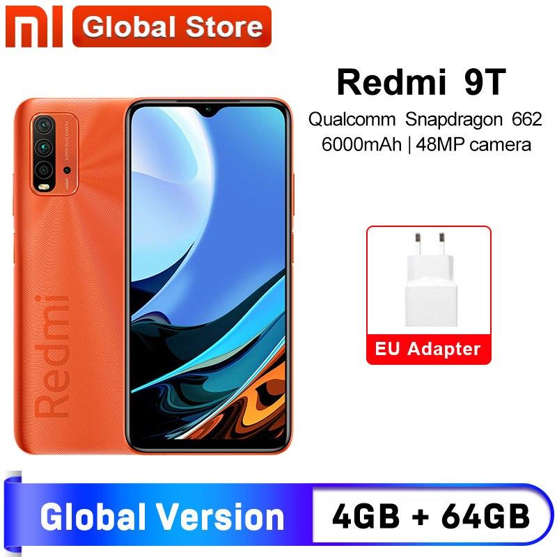 Versão global xiaomi redmi 9t 4gb 64gb smartphone snapdragon 662 48mp câmera traseira 6000mah não nfc