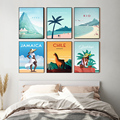 Nordic Vintage Travel Cities Poster Chile Peru Rio Minimal Beach Landscape Art Canvas Painting Cityscape Wall Picture Home Decor