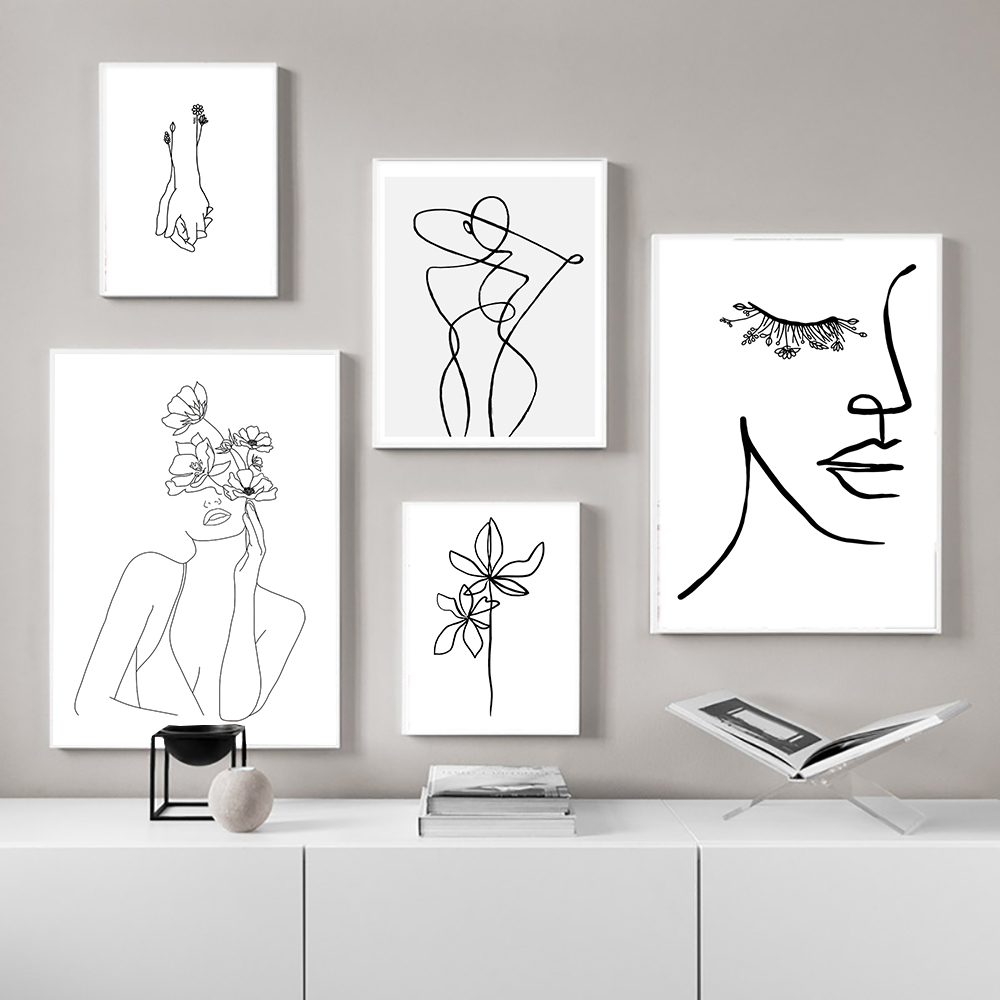 Wall Art Line Drawing Girl Print Minimalist Simple Fashion Poster Women Flower Leaf Hand Body Sketch Black White Canvas Painting