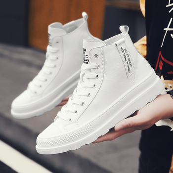 New Trend Young Casual Footwear For Men Good Quality Leather Sneakers Mens Luxury Brand Men Shoes High Top Men Lace Up Sneakers