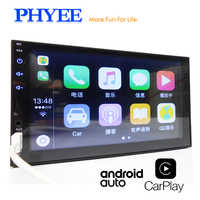 """2 Din Apple Carplay Car Radio Bluetooth Android Auto 7"""" Touch Screen Video MP5 Player USB TF ISO Stereo System Headunit PHYEE X2"""