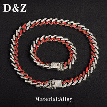 D&Z 1 Set 13mm Shiny Cubic Zircon Prong Cuban Link Long Necklace For Hipster Iced Out Jewelry Drop Shipping(China)