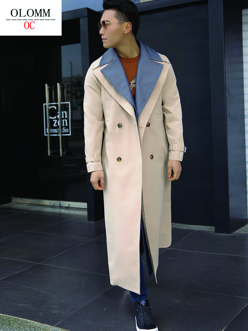 OLOMM Korean style design Double-layer lapel Long trench coat Double breasted Men's fashion coat DY1602