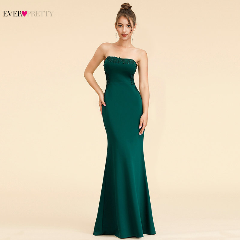 Elegant Dark Green Evening Dresses Long Ever Pretty A-Line V-Neck Sleevelss Lace Appliques Evening Gowns Abiye Gece Elbisesi