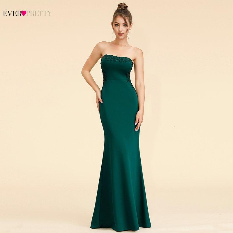 Elegant Dark Green Evening Dresses Long Ever Pretty A-Line V-Neck Sleevelss Lace Appliques Evening Gowns Abiye Gece Elbisesi
