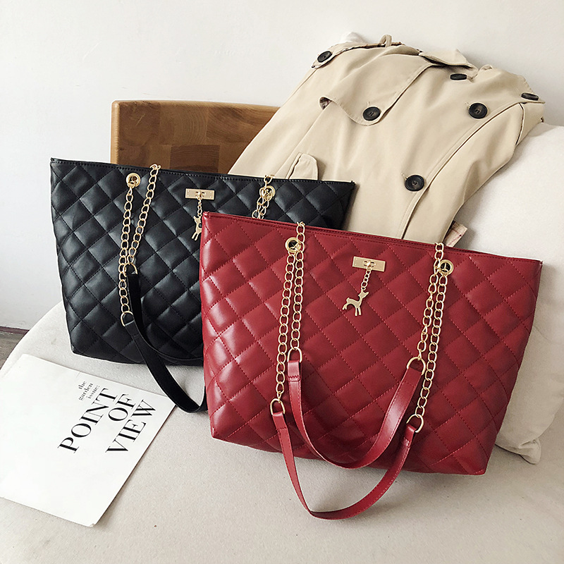 Women Bag Leather Handbag 2019 Designer Brand Luxury Large Capacity Of Rhombic Chain Leather Ladies Shoulder Crossbody Women Bag