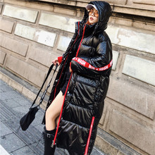 Damski płaszcz zimowy 2020 nowa zimowa kurtka z kapturem czarna długa puchowa kurtka bawełniana luźna ciepła błyszcząca damska kurtka bawełniana MY235 tanie tanio LAJWMPLXLS HIP HOP zipper Pełna COTTON SILK Poliester Grube Batik REGULAR List WOMEN long Kieszenie Zamki women s winter jacket