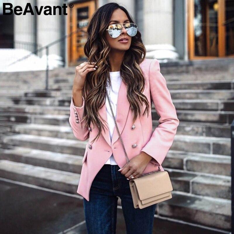BeAvant Elegant Buttons Office Women Blazers Casual Long Sleeve Autumn Winter Female Blazer Jackets Office Ladies Blazers Coats