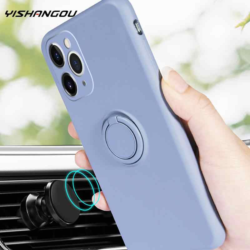 Voor Iphone 11 Pro Max Se 2 2020 Case Vloeibare Siliconen Slim Soft Telefoon Case Ring Stand Cover Voor Iphone xr X Xs Max 7 8 6 6S Plus