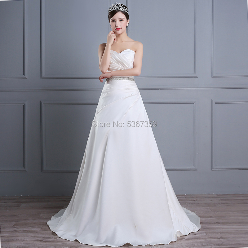 Sweetheart Neck White Ivory Satin A Line Wedding-Dresses Vestido De Noiva Court Train