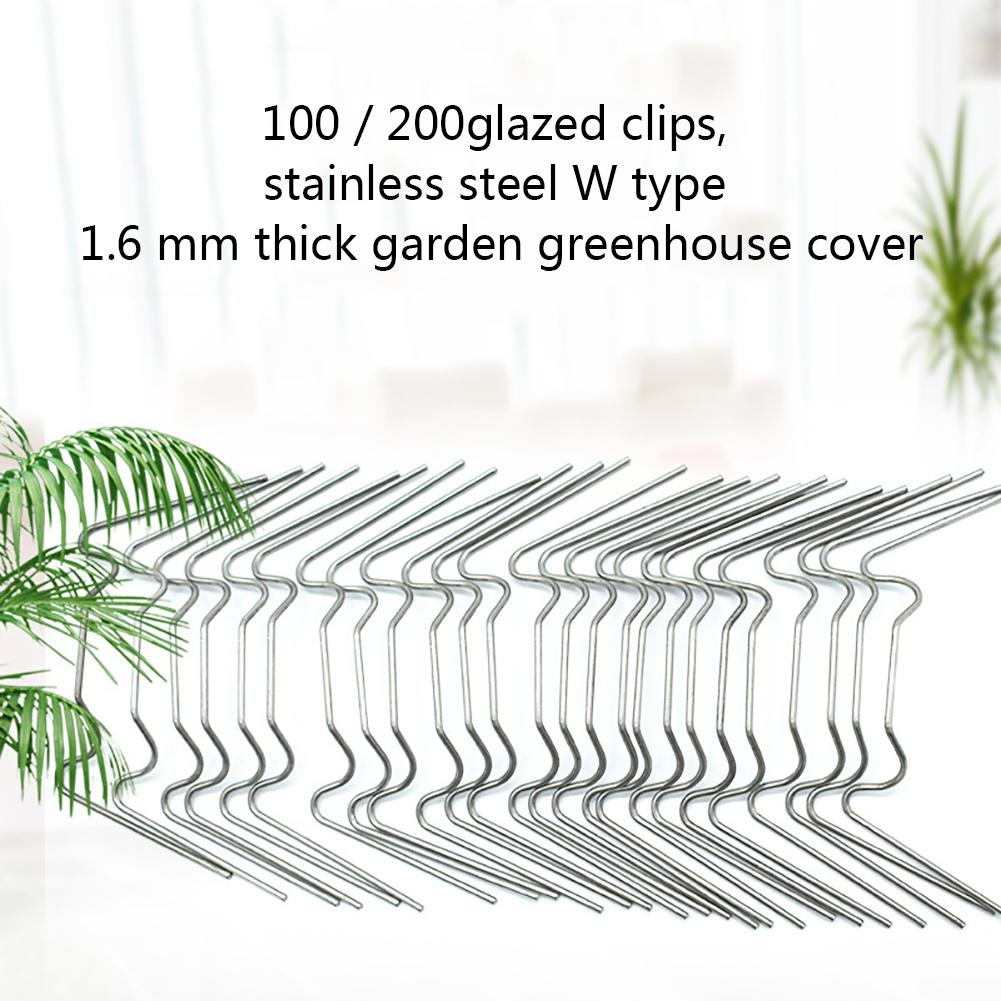 100pcs 1.2 Mm Glazed Clips Stainless Steel W Type Thick Garden Greenhouse Cover Sheath Greenhouse Clamp 75mmx35mmx1.2mm