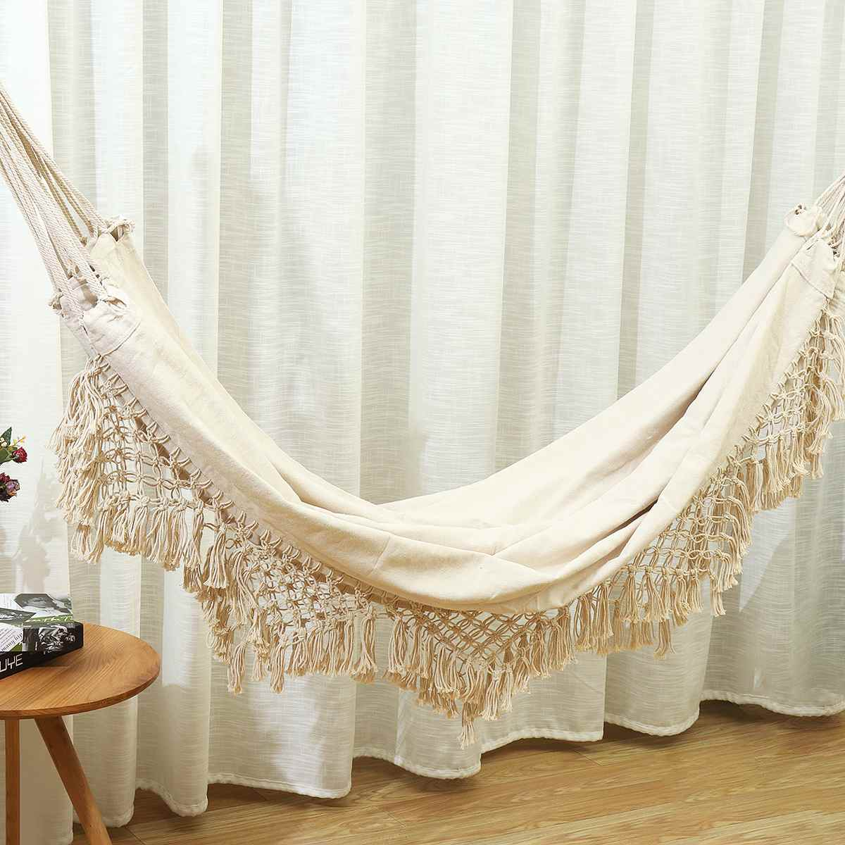 2 Person Hammock Large Brazilian Macrame Fringe Double Hammock Swing Net Chair Out/Indoor Hanging Hammock Swings
