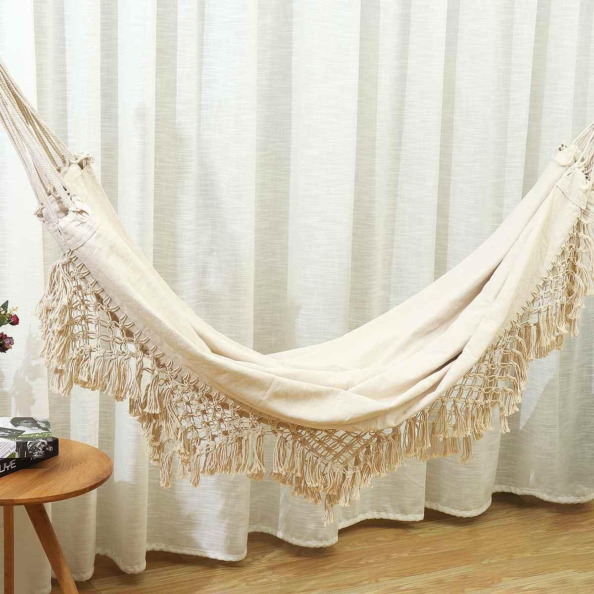 2 Person Hammock Large Brazilian Macrame Fringe Double Hammock Swing Net Chair Out/Indoor Hanging Hammock Swings