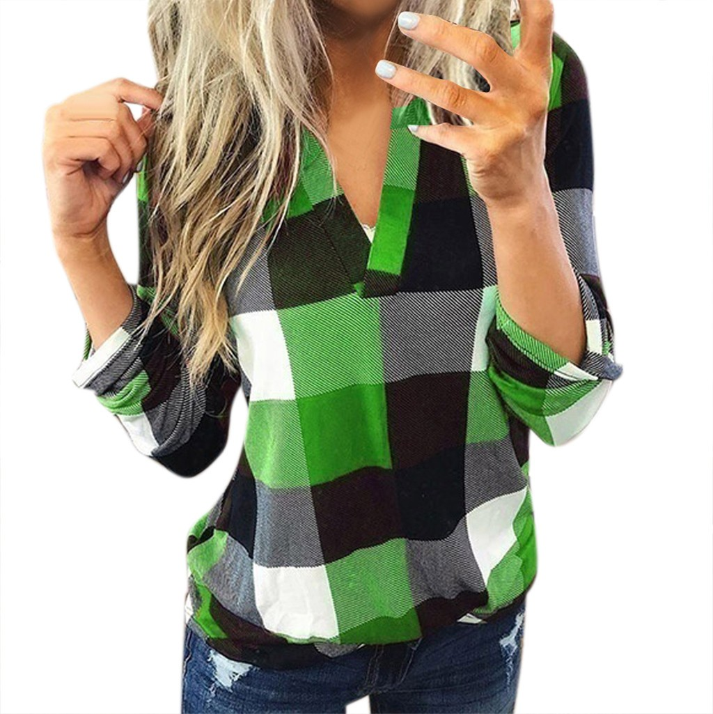 Roll Up Green grid stitching Blouse Long Sleeve Women Casual Long Sleeve V Neck  Plaid Shirt Slim Top harajuku sweatshirt #BA