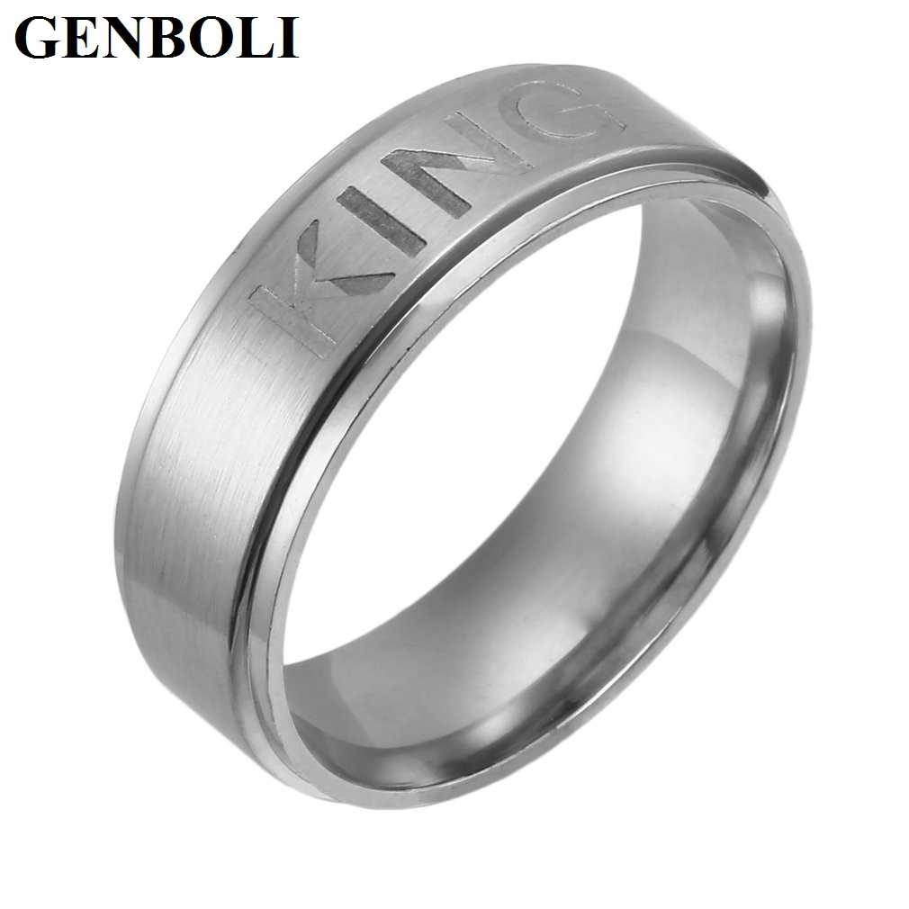 Moda 1 Uds Simple acero inoxidable Rey o Reina anillo para mujeres amantes pareja de anillos bisutería accessoriesliquidación