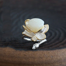 Novo snew prata esterlina natural hetian jade lotus artesanal modelo feminino atmosfera retro temperamento anel aberto