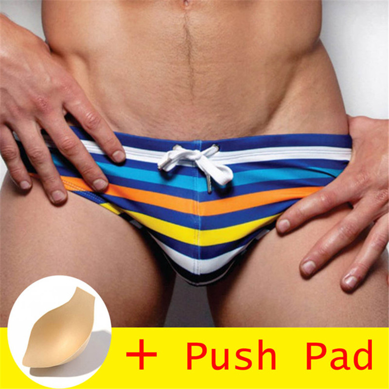 2020 Men's Swimwear Sexy Summer Swimsuit Briefs With Push Pad Low Waist Bathing Suit Bulge Beach Quick Dry Wear Surf Swim Shorts