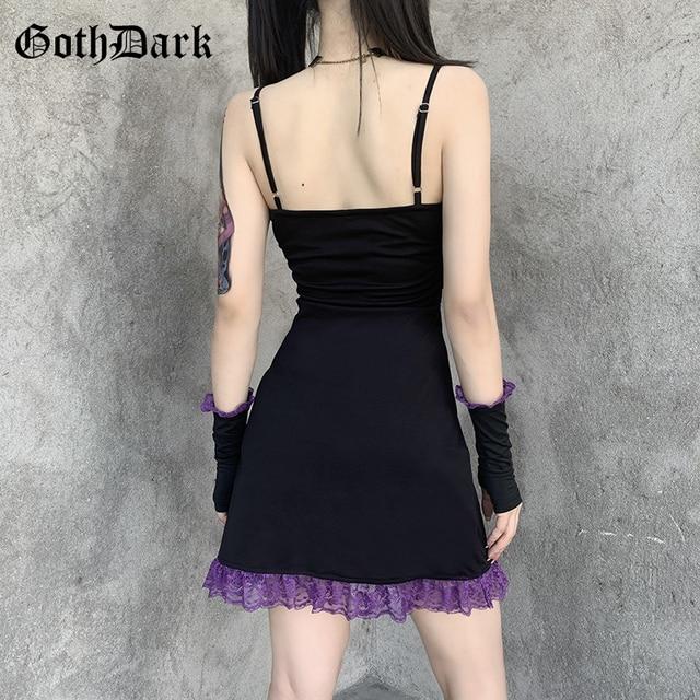 Goth Dark Vintage Bandage Gothic Lace Patchwork Dresses Black Sleeve Separated Rufflues Hem Backless Mini Dress For Women Autumn