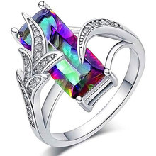 Fashion Huge Rainbow/Green Square Zircon Rings for Women Creative Design Leaf Ring White Gold Color Jewelry Femme Bijoux