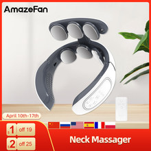 Upgrade Neck Massager 6 electrode plates 4 modes Electric Pulse 15 gears of intensity & Heating mode USB charging neck massager