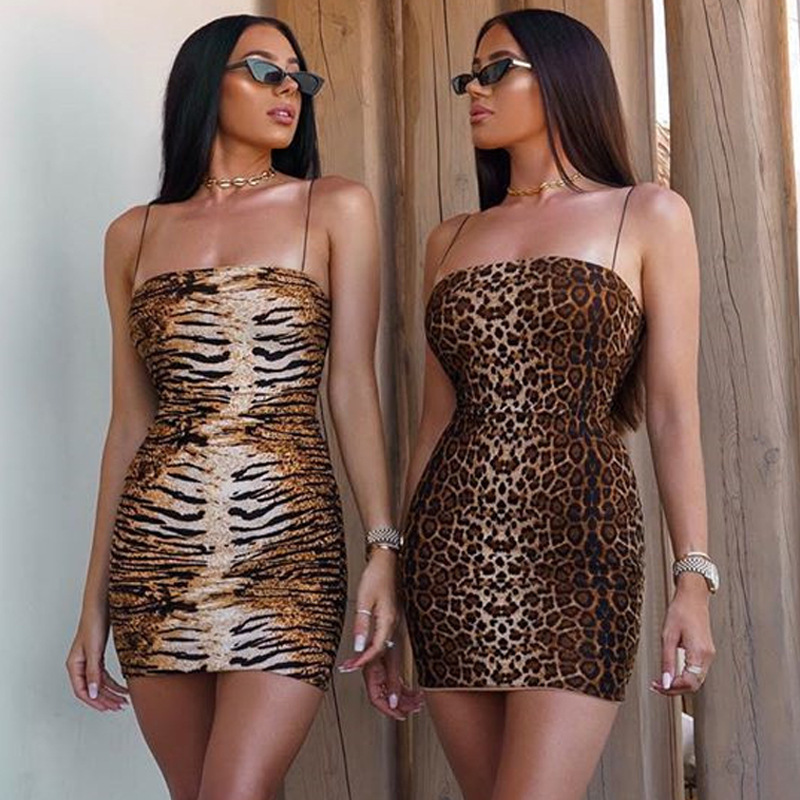 Cryptographic Women Leopard Fashion Strap Dress 2019 Autumn Sleeveless Streetwear Mini Dress Casual Skinny Bodycon Pencil Dress in Dresses from Women 39 s Clothing