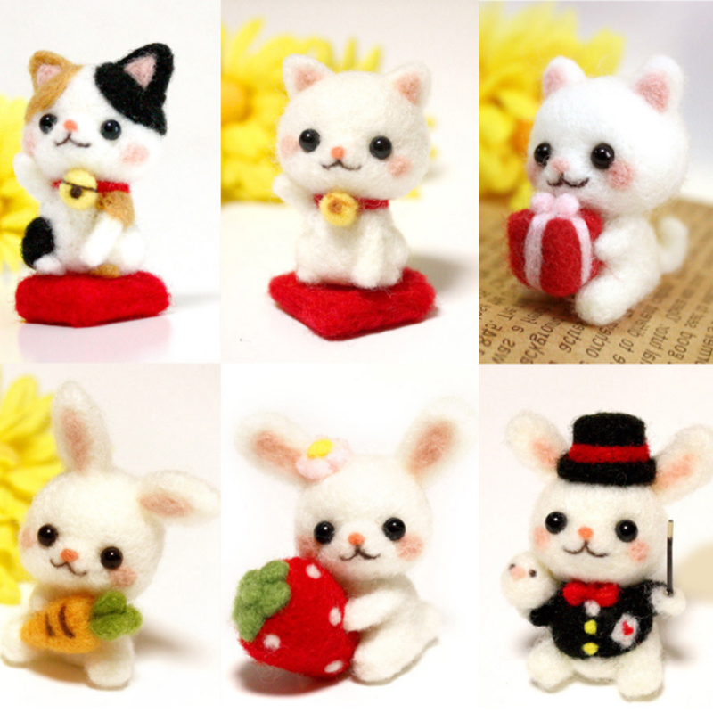Funny Handmade Diy Toys Cartoon Small Animal Strawberry Rabbit Lucky Cat Wool Felt Set Plush Toy Craft Toy Gift For Children