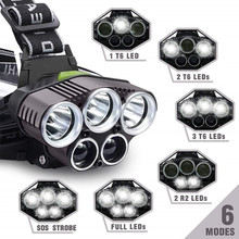 Rechargeable Headlamp 18650 Headlight Waterproof 6 Modes Head Light for Cycling Camping Running Fishing Head Light