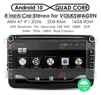 2 Din Android 10 Car Radio Player GPS Navi for Volkswagen VW Golf Passat B6 Touran Polo Sedan Tiguan Jetta Steer Wheel Control