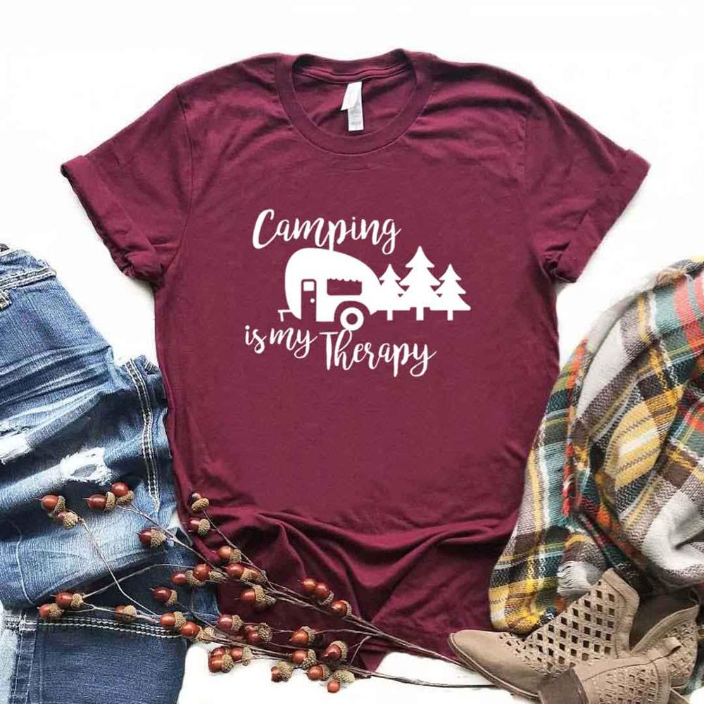 Camping Is My Therapy Hiking Adve Women Tshirt Cotton Hipster Funny T-shirt Gift Lady Yong Girl 6 Color Top Tee Drop Ship ZY-582