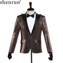 Shenrun Men Fashion Slim Fit Suit Jacket Casual Blazer Skinny Sequins Paillette Wedding Groom Singer Stage Costume Plus Size