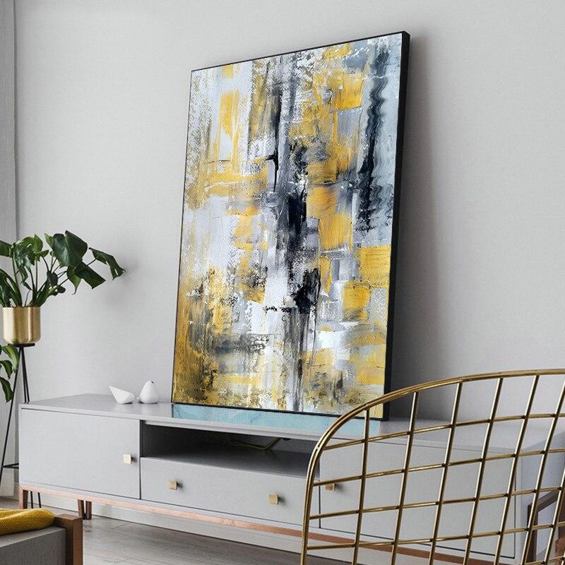 Design simples de alta qualidade pintados à mão moderna pintura a óleo cinza sobre tela arte moderna pintura a óleo para todos os tipos de decoração da parede - 5