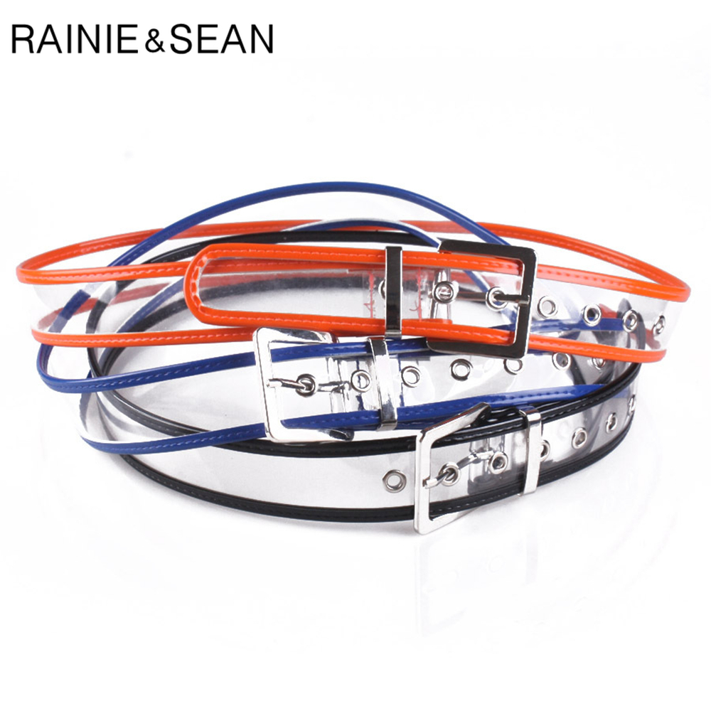 RAINIE SEAN Women Belt Transparent Pin Buckle Ladies Belt PVC Plastic Patchwork Fashion Yellow Blue Black Orange Belt For Women