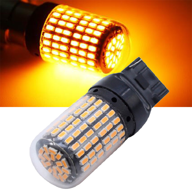 2pcs 7440 <font><b>T20</b></font> <font><b>Led</b></font> Turn <font><b>Bulbs</b></font> W21W WY21W CanBus No Error Amber 12v High Bright <font><b>Led</b></font> Lamp For <font><b>Rear</b></font> Turn Signal Light Lamps <font><b>Bulbs</b></font> image