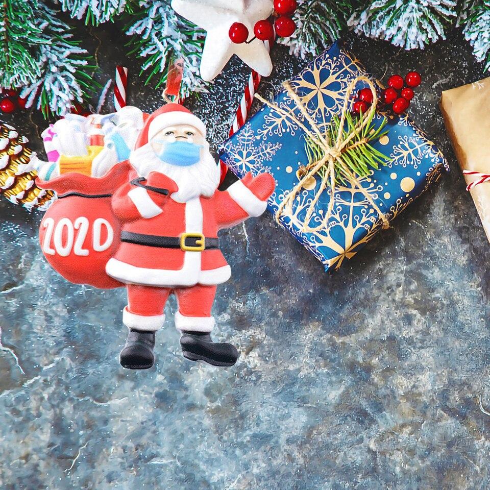 Christmas Tree Ornaments XMAS Old Man Hanging Decor Wearing 2020 Santa Gift