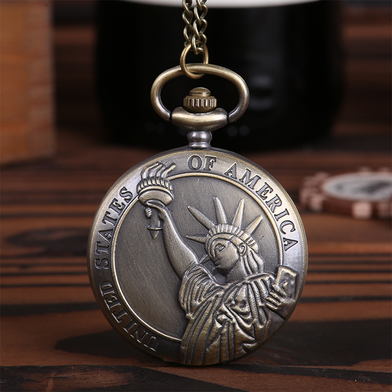 Professional Pocket Watch Large New Classic Retro Free Statue Statue Engraving Printed Boutique Pocket Watch